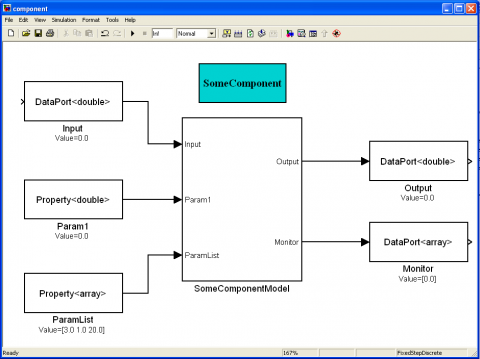 Simulink for Orocos example: Orocos blocks are added to a model